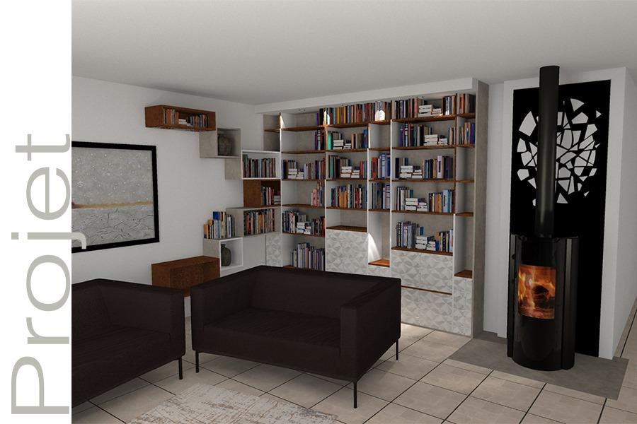 Agencement interieur architecte interieur etagere bibliotheque sur mesure Realisation G Viaud Fenouiller4